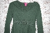 **MBA #34-003  Green Thcila Cotton Long Sleve Top With Crochet Trim