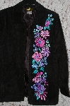 "MBA #35-018  ""Black Bob Mackie Floral Embroidered Suede Coat"