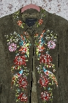 "MBA #35-015  ""Olive Green Avanti Floral Embroidered Suede Jacket"
