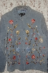 MBA #35-046  Slate Blue Dialogue Floral Embroidered Suede Jacket