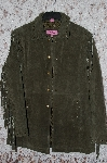 "MBA #35-031   ""Green Excelled Fringe & Whip Stitch Detail Suede Jacket"