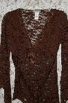 "**MBA #35-001  ""Chocolate Brown Body Central All Lace Tie Back Bead Embelished Tunic"