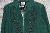 "MBA #36-055  ""Dark Green Nolan Miller Beaded Floral Fully Lined Suede Jacket"