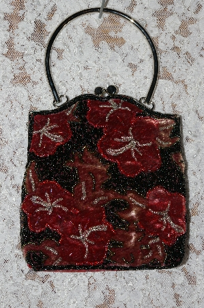 "+MBA   ""1980's Red Velvet Floral Hand Beaded Purse"