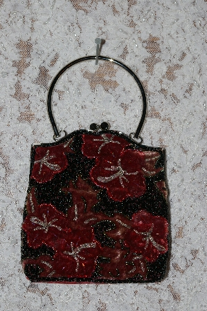Red Velvet Floral Hand Beaded Purse