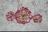 Round Pink Crystal Brooch W/Matching  Clip On Earrings