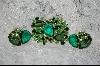 **  3 Shades of Green Large Crystal Brooch W/Matching Clip On Earrings