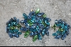 ** Regency  Blue & Green Crystal Brooch W/Matching Clip On Earrings