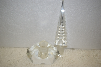 **Large Clear Crystal Perfume Bottle W/ Hand Carved Stopper