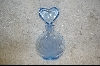 **Blue Rose Glass Perfume Bottle W/Heart Shaped Stopper