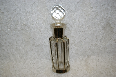 **Clear Glass Metal Incased Perfume Bottle W / Carved Glass Stopper
