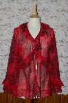"**Georgo Simonton Red  ""Fly Away Animal Print Top"""