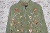 "MBA #49-035   ""Dialogue ""Green"" Floral Embroidered Suede Jacket"
