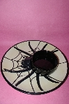 "**MBA #54-028  Unique Ceramic  ""Black Spider"" Chip & Dip Set"