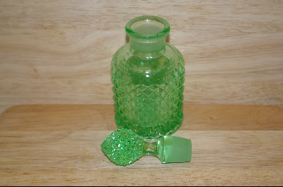 **Beautiful Patterned Green Glass Perfume Bottle #4873