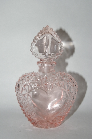 """SOLD"" Vintage Pink Heart Shaped Perfume Bottle With Glass Stopper"