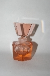 **Vintage Pink Glass Perfume Bottle With Glass Stopper