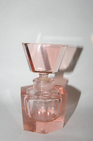 **Vintage Soft Pink Glass Perfume Bottle
