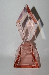 "**Vintage ""Large"" Pink Glass Perfume Bottle With Glass Stopper"