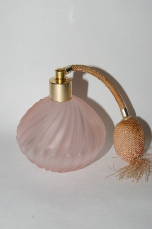 **Vintage Round Frosted  Pink Glass Atomizer Perfume Bottle