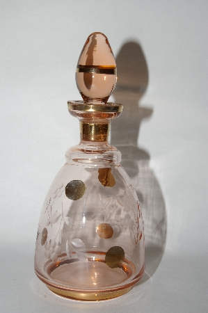 **Vintage Pink Glass With 14K Gold Paint Work Perfume Bottle