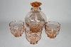**MBA #55-176  Vintage Pink Glass Decantor With Three Matching Glass's