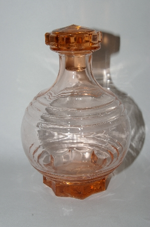 **MBA #55-161  Vintage Pink Glass Decantor With Three Matching Glass's