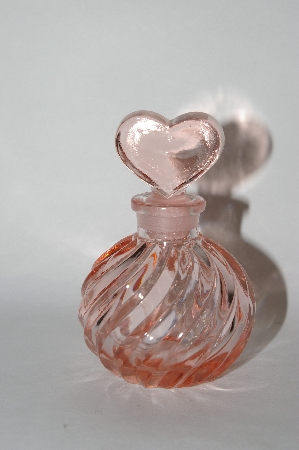 **Vintage Pink Glass Perfume Bottle With Heart Shaped Glass Stopper