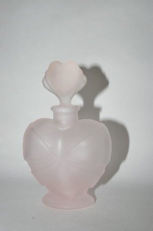 **Vintage Frosted Pink Glass Heart Shaped Perfume Bottle