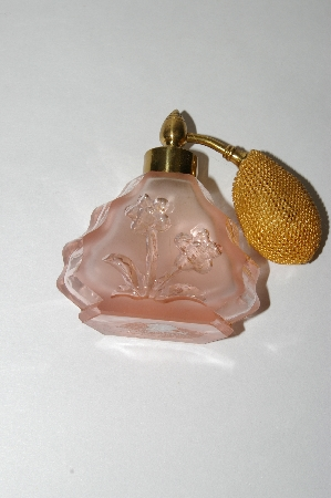 ** Vintage Small Pink Glass Floral Etched Atomizer
