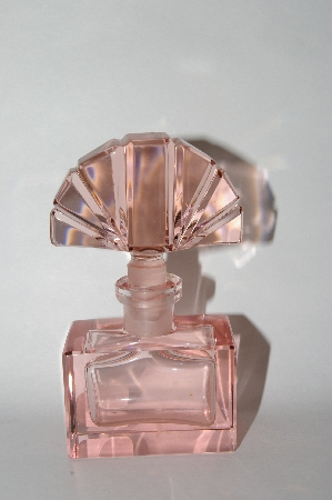 *Vintage Soft Pink Glass Perfume Bottle With Glass Fan Shapped Stopper