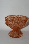 "+MBA #55-091  "" Indiana Glass Vintage Fancy Cut Pink Glass Candy Dish"