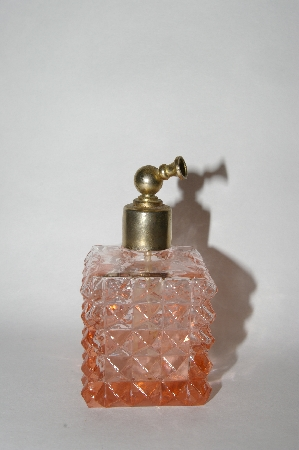 **Vintage Square Pink Glass Atomizer