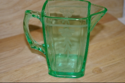 **Unusual Green Small Etched Pitcher #4887