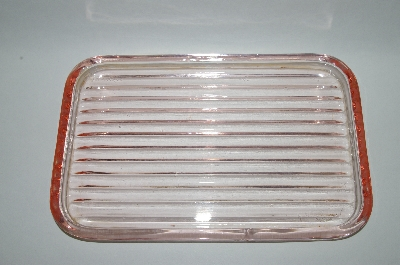 **Vintage Soft Pink Glass Square Tray