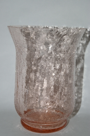 **Newer Pink Crackled Glase Wide Mouth Vase Or Candle Holder