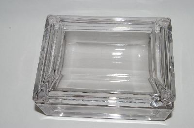 **Vintage Clear Glass Heavy Trinket Box