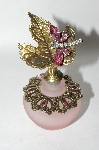 **Pink Frosted Glass Leaf Dragonfly Perfume Bottle