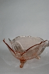 **Vintage Footed Pink Glass Candy Dish