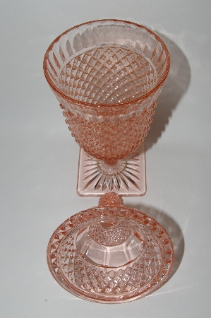"**""Hocking"" Depression Glass Pink Miss America Candy Dish With Lid"