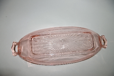 **MBA #57-002  Vintage Pink Depression Glass Long Relish Dish
