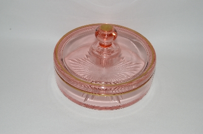 ** Vintage Pink Depression Glass Candy Dish With Lid.