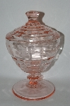 +MBA #57-066  Vintage Pink Depression Glass Candy Dish With Lid