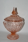 +MBA #57-071  Vintage Fancy Pink Depression Glass Candy Dish With Lid