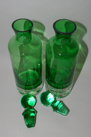 **MBA #57-095    Set Of 2 Green & Clear Glass Bottles With Glass Stoppers