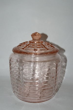 "MBA #57-057  Vintage Pink Depression Glass ""Hocking"" Cookie Jar"