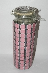Tall Hand Done Pink Ceramic Tile & Stained Glass Canister