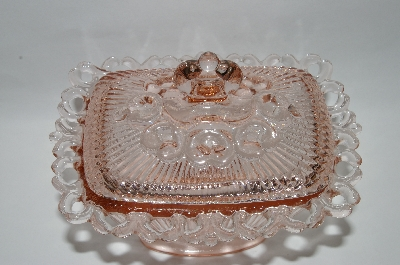 "**MBA #57-080  "" Indiana Glass  Vintage Fancy Pink Depression Glass Candy Dish"