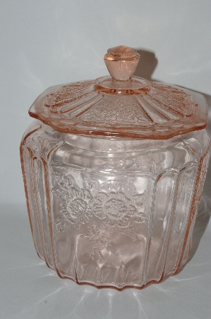 "MBA #57-075  Vintage Pink Depression Glass  ""Mayfair"" Cookie Jar With Lid"