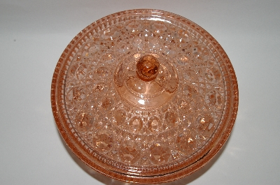 ** MBA #57-091  Vintage Pink Depression Glass Gem-Cut Look Candy Dish
